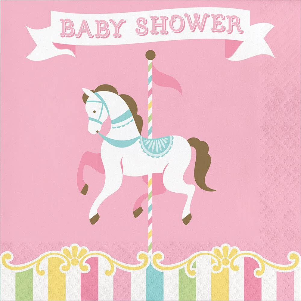 Creative Converting Carousel Horses 192-Count Baby Shower Lunch Paper Napkins