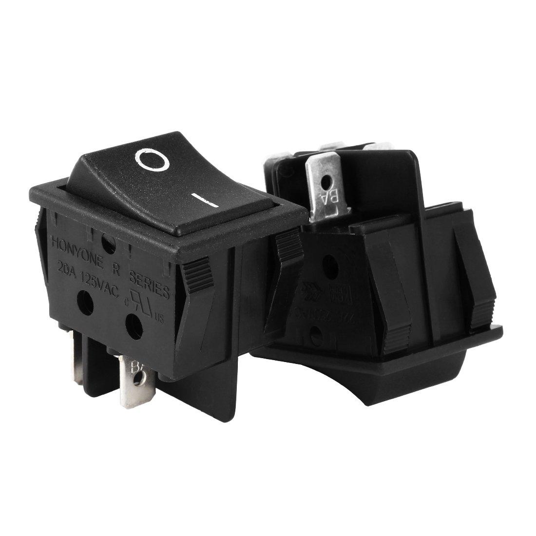 uxcell DPST 4Pin 2 Position I/O Boat Rocker Switch Black AC 20A/125V 22A/250V