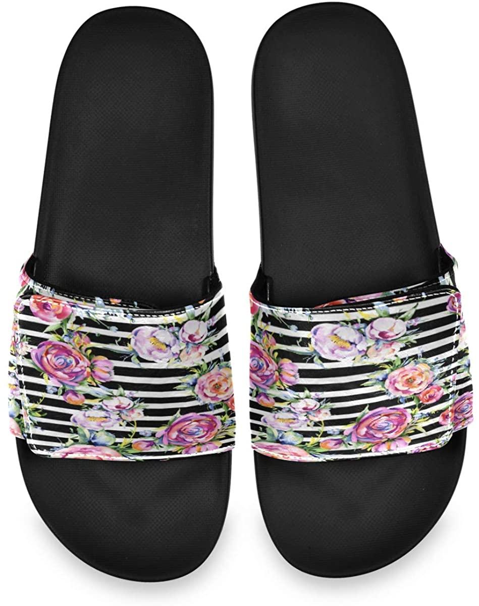 All agree Watercolor Rose Flowers Stripe Streak Mens Summer Sandals Slide House Adjustable Slippers Wide Boys