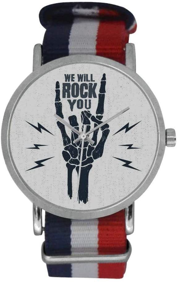 QUICKMUGS2U Funny Words We Will Rock You Men's Stainless Steel Classic Large Face Quartz Analog Business Wrist Watch with Striped Nylon Band