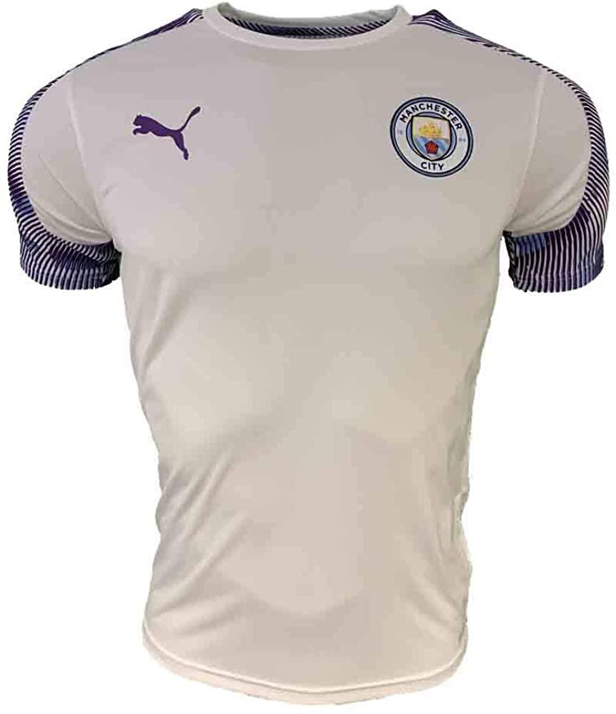 PUMA 2019-2020 Manchester City Training Football Soccer T-Shirt Jersey (White)