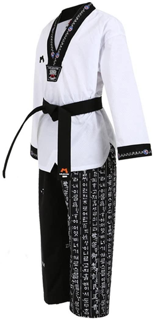 Mudoin Korea Taekwondo Hangul Uniform Black V Neck for Adults MMA Martial Arts Karete Judo Hapkido Gym School Academy