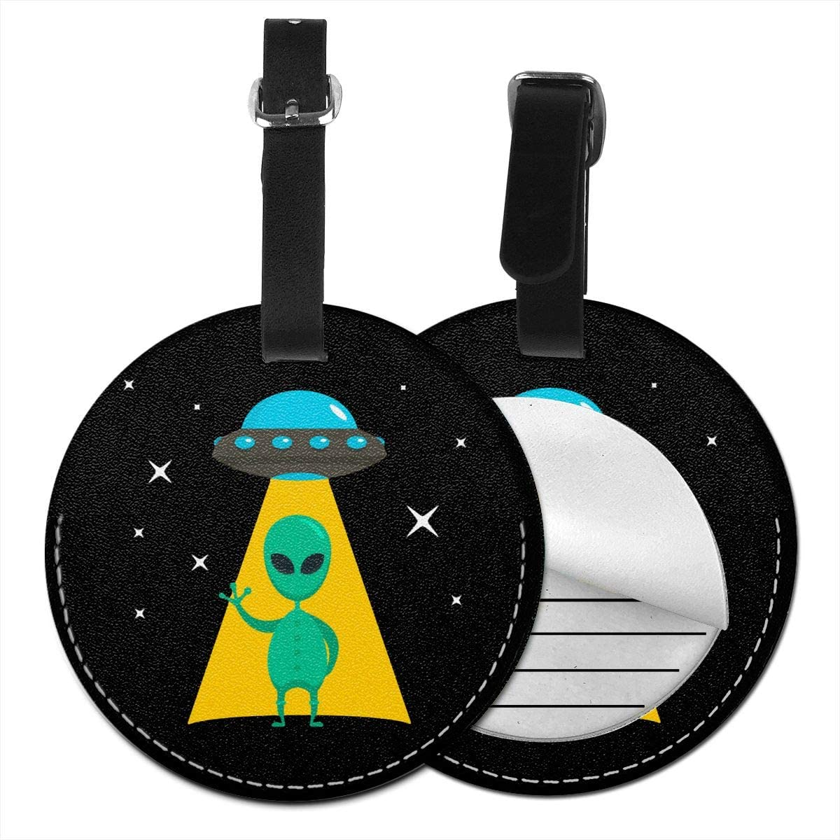 HFdAK.t Alien UFO PU Leather Round Luggage Tags Funny Luggage Id Tag Vacation Luggage Tags Suitcase Carry-on