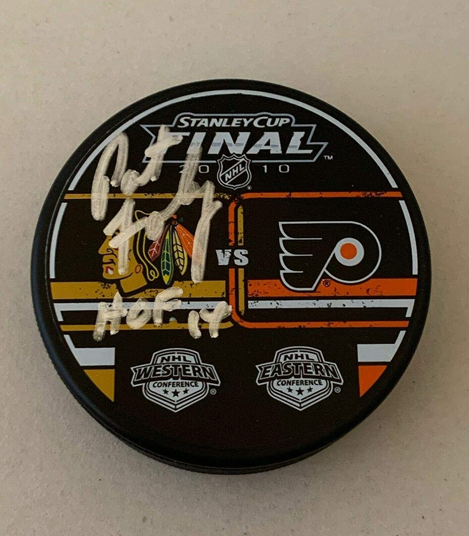 Pat Foley signed Chicago Blackhawks 2010 Stanley Cup Final puck autographed HOF - Autographed NHL Pucks