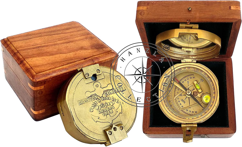 Hanzla Collection Watts & Sons Ltd Antique Brass Brunton Nautical Surveyor Pocket Compass with Box