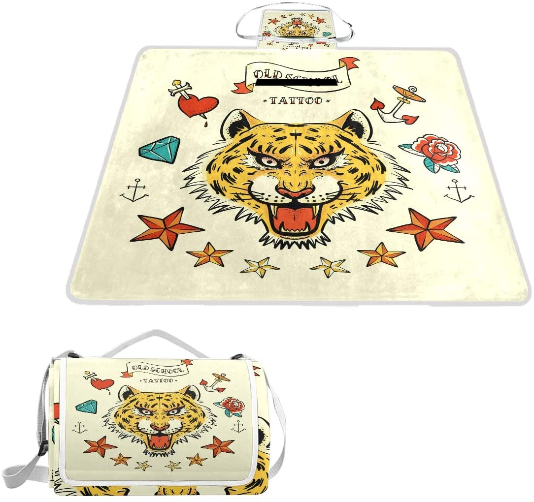 ILEEY Tiger Tattoo and Other Hand Drawn Items Picnic Blanket - Water-Resistant Outdoor Blanket-Extra Large 56x58 inches, Oversized Beach Mat for Travel or Camping