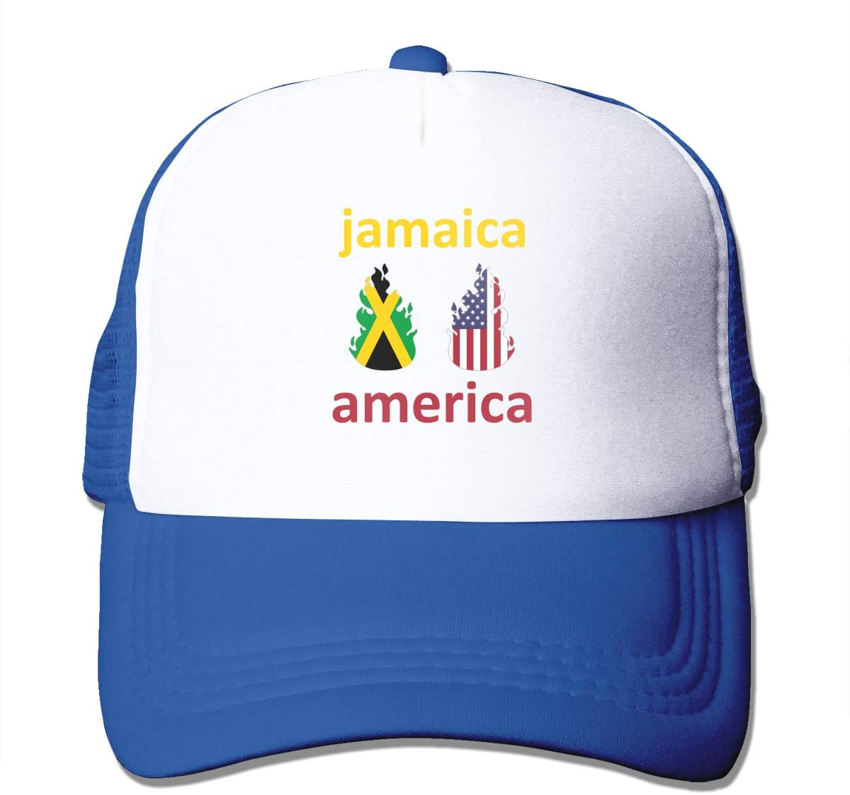 Adult Trucker Hat American Jamaica Fire Custom Mesh Caps