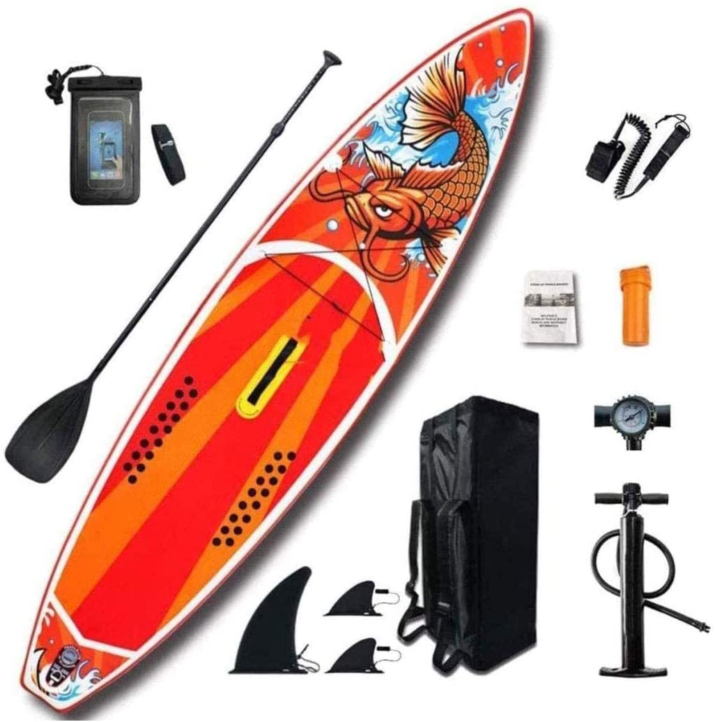 Logo Inflatable Stand Up Paddle Board, Stand-Up Paddleboarding Ultra-Thick Durable SUP Board with Free SUP Accessories Non-Slip Deck Adjustable Paddles Pump Safety Ankle Strap