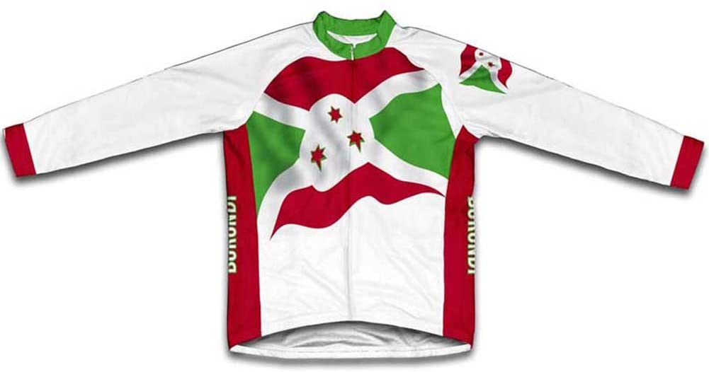 ScudoPro Burundi Flag Long Sleeve Cycling Jersey for Men