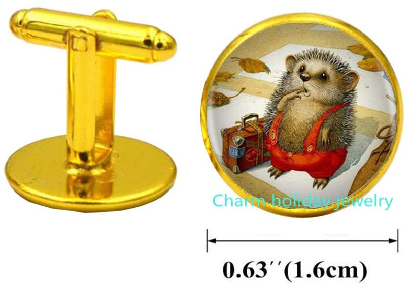 Dainty Hedgehog Cufflinks Friendship Cufflinks Nature Jewelry Birthday Gift for Her s Jewelry s-#39