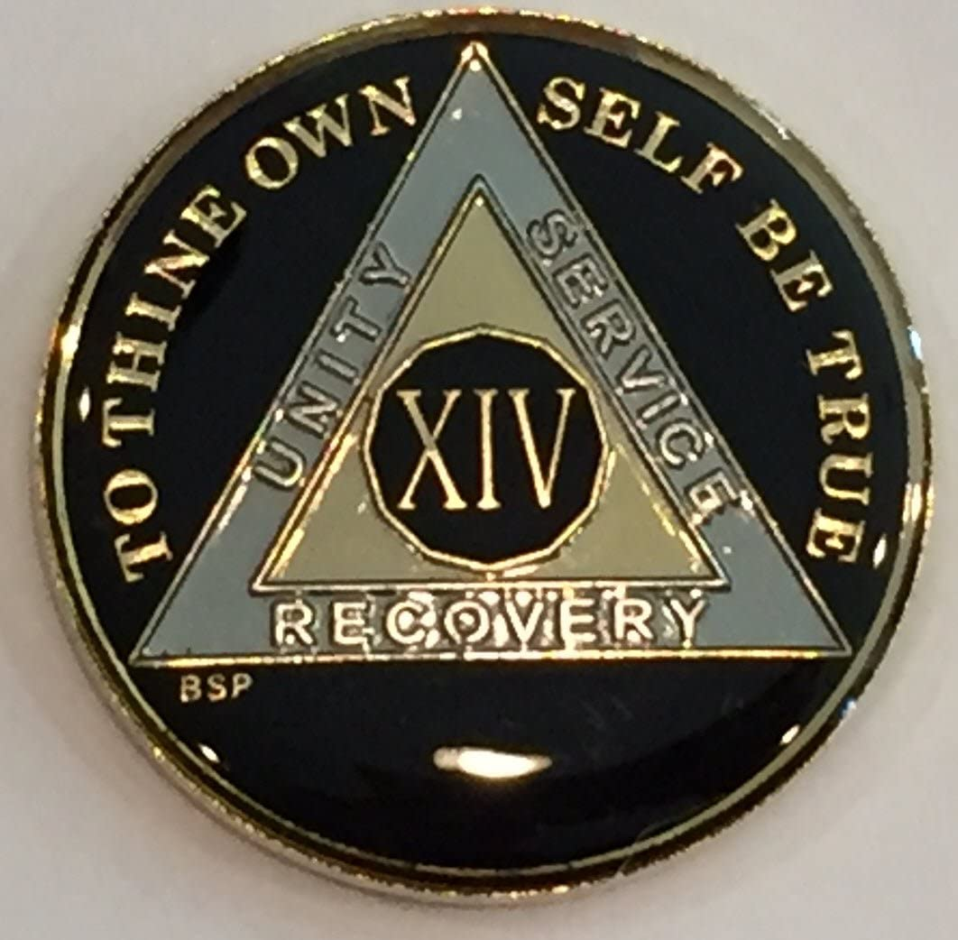 Bright Star Press 14 Year Classic Black AA Alcoholics Anonymous Medallion Sobriety Chip Tri Plate Gold & Nickel Plated Serenity Prayer
