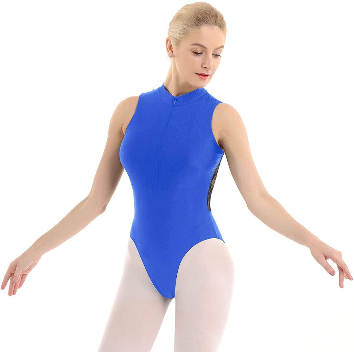 Freebily Womens Adult Mock Neck Spandex Lace Ballet Dance Gymnastics Leotard Bodysuit