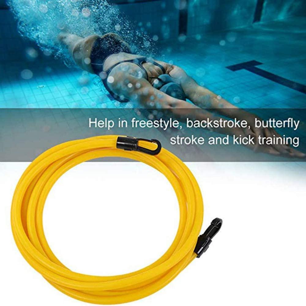 YUNQI Swim Training Belts 3M Swim Bungee Cords Resistance Bands Swim Tether Stationary Swimming, Swim Harness Static Swimming Belt(One Waist Belt, One Bungee Cord, One Loop) Storage Mesh Bag(Yellow).