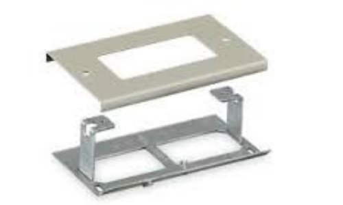 Hubbell Wiring Systems HBL3048RGY Steel Metal Raceway Rectangular Style Line Receptacle Cover, 4-1/2 Length, Gray