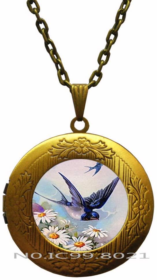 maoqunza Blue Swallow Flying Art Glass Dome Pendant Locket Necklace Blue Swallow Locket Necklace for Men Women's Gifts -RG132