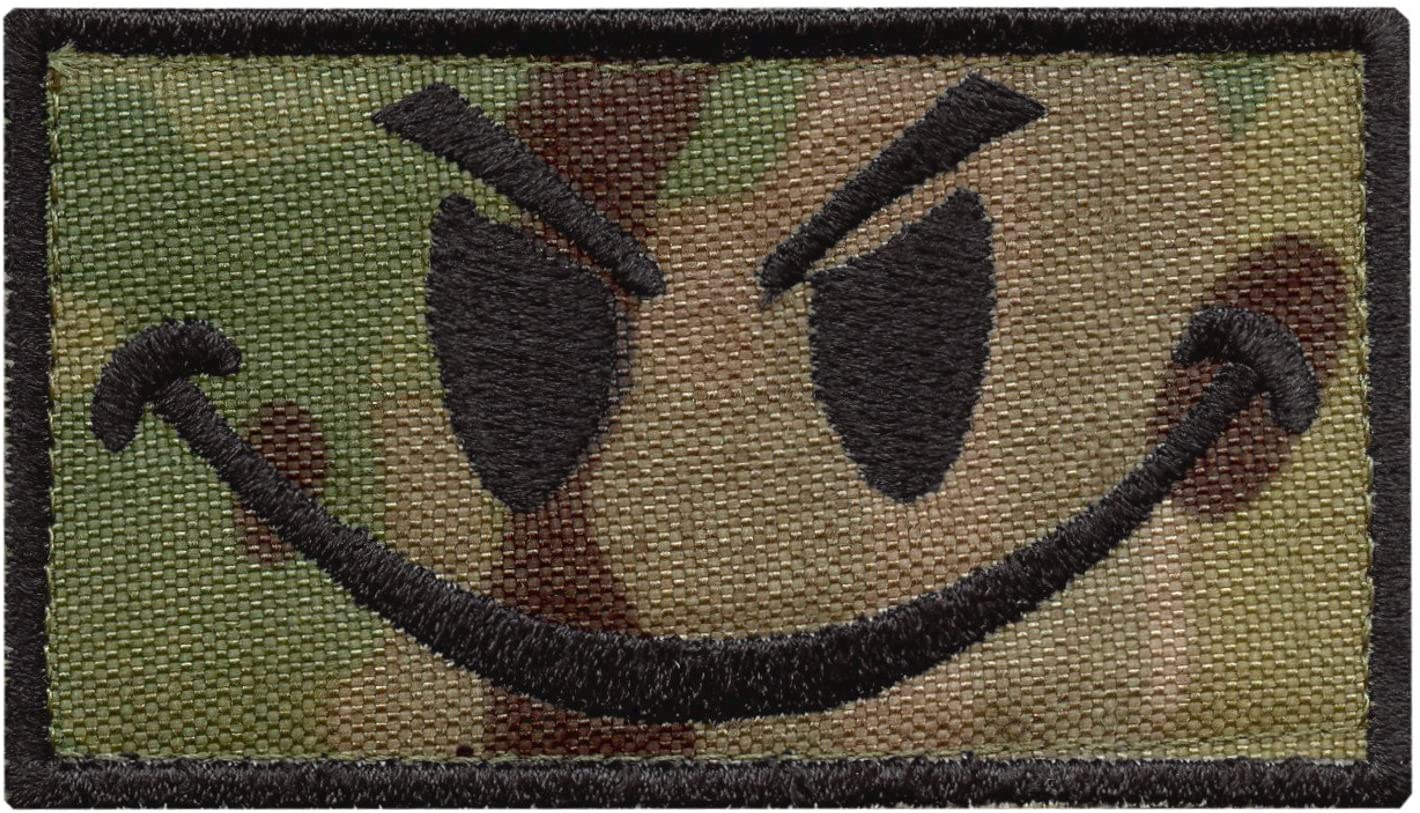 LEGEEON Multicam Smiley Evil Angry Green Morale Tactical Military Milspec Tactical ISAF Sew Iron on Patch