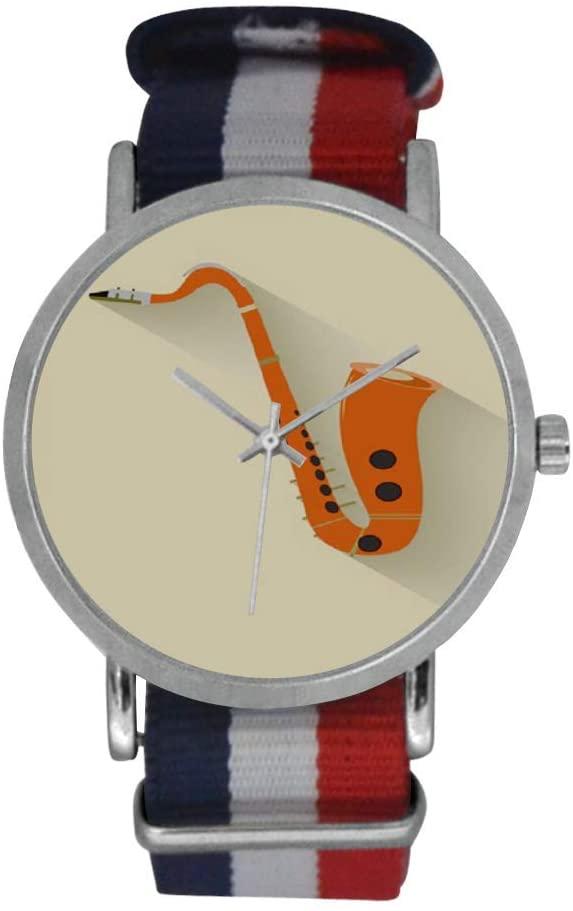QUICKMUGS2U Saxophone Creamy Tone Men's Stainless Steel Classic Large Face Quartz Analog Business Wrist Watch Striped Nylon Band