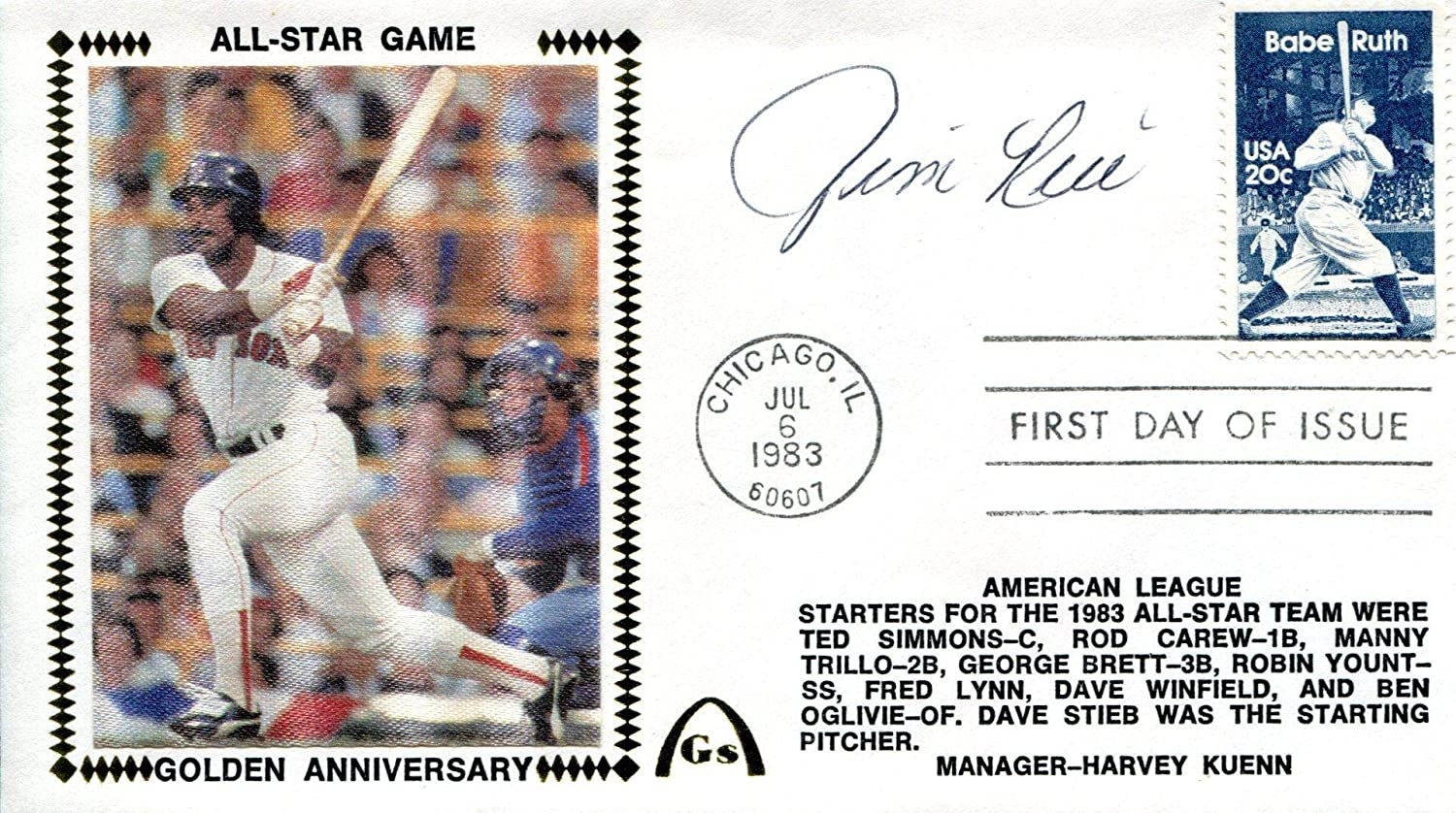 Jim Rice Autographed July 6 1983 First Day Cover - MLB Cut Signatures