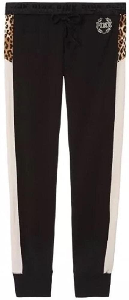 Victoria's Secret Pink Gym Pants Sweatpant Small Black Leopard