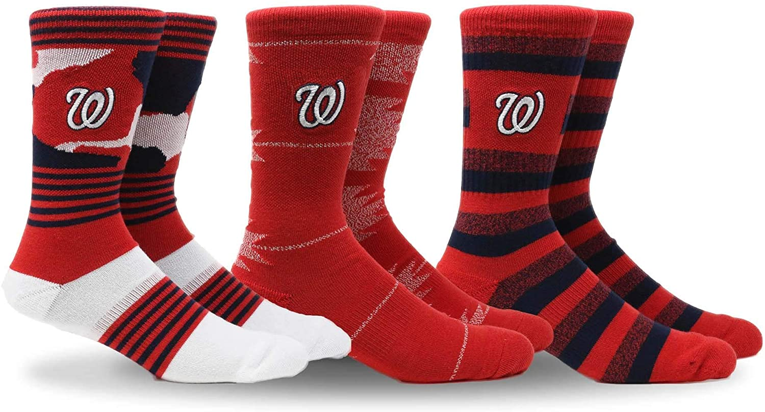PKWY MLB Mens Clubhouse Collection 3-Pack Socks (Medium, Washington Nationals)