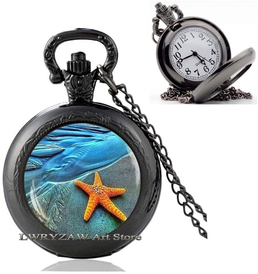 Sea Star Pendant, Sea Star Jewelry, Sea Star Pocket Watch Necklace, Sea Shell Pocket Watch Necklace, Mermaid Pocket Watch Necklace, Beach Pendant, Ocean Jewelry,M68