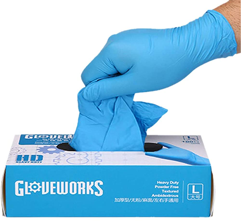 100PCS Disposable Nitrile Gloves Exam Gloves Latex-Free, Powder-Free Glove for Cleaning, Mechanics, Automotive, Industrial, Food Handling or Medical Applications (L)