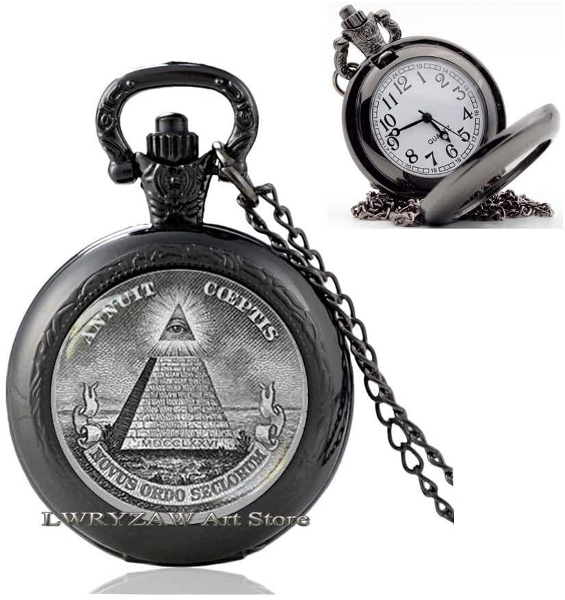 Annuit Coeptis Pocket Watch Necklace, Masonic All Seeing Eye Pyramid, Masonic Pendant, Eye of Providence Pendant, Sacred Geometry Pocket Watch Necklace,M211