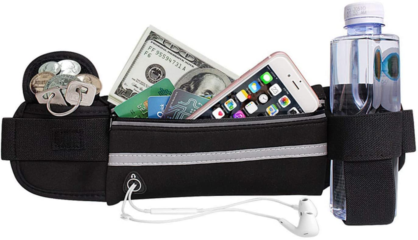 Unisex Running Belt, Fanny Waist Pack Adjustable Running Pouch Water Resistant Exercise Workout Pouch Fit Phones
