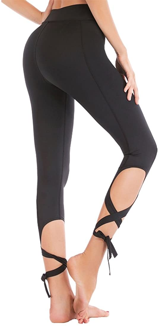 Klorify Belly Dance Pants Yoga Tights Tie up Leggings Strappy Dry Fit Workout Capris High Waist