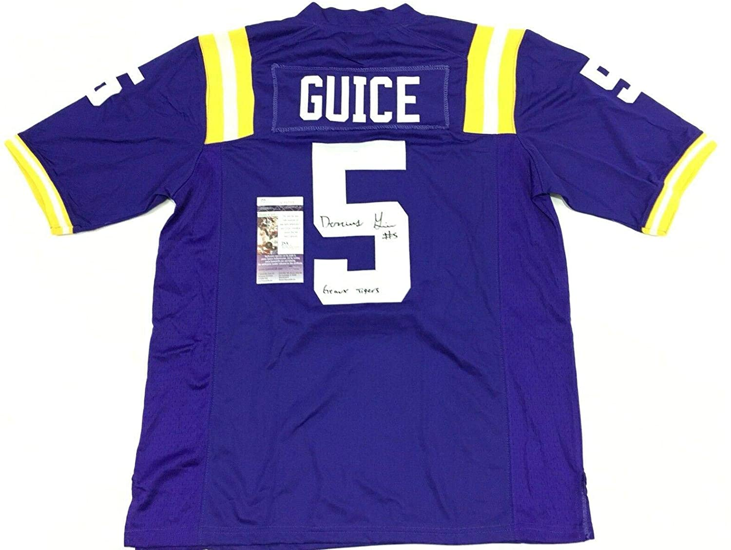 Signed Derrius Guice Jersey - Coa Inscribed Geaux - JSA Certified - Autographed College Jerseys