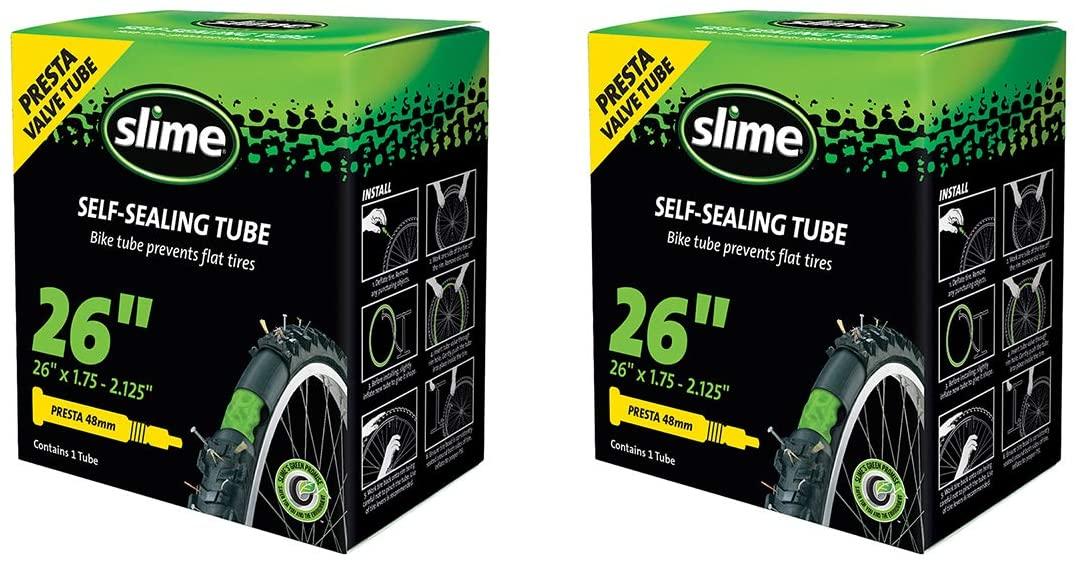 Slime 2-Pack Bicycle Self-Sealing Tube 26x1.75-2.125 Presta Valve 48mm Threaded