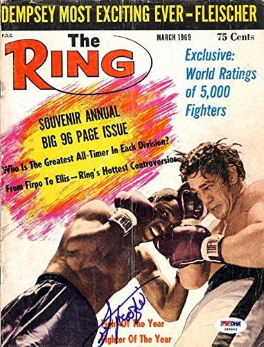 Joe Frazier Autographed The Ring Magazine Cover #S48963 - PSA/DNA Certified - Autographed Boxing Magazines