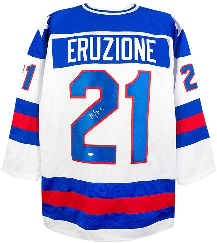Mike Eruzione Autographed Team USA Miracle on Ice White Custom Jersey - Leaf COA