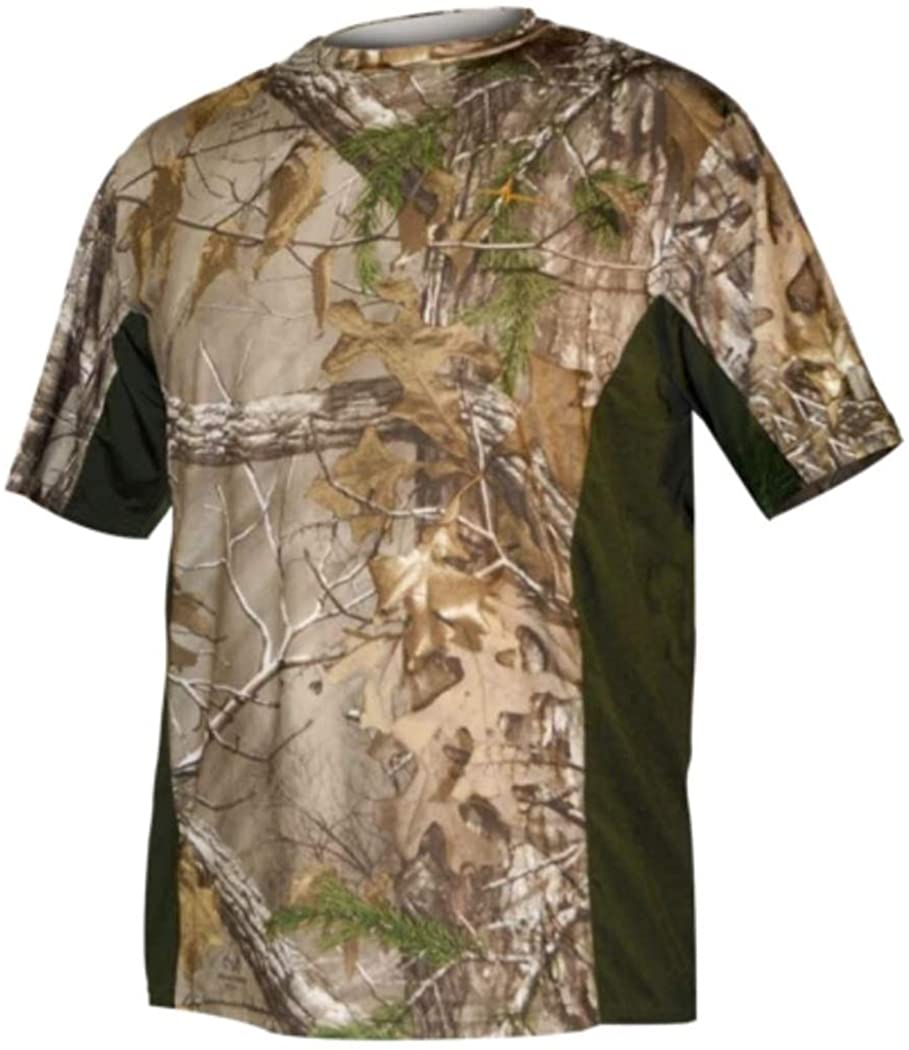HABIT Mens Short Sleeve Performance Tee, Realtree Xtra/Night Forest, X-Large