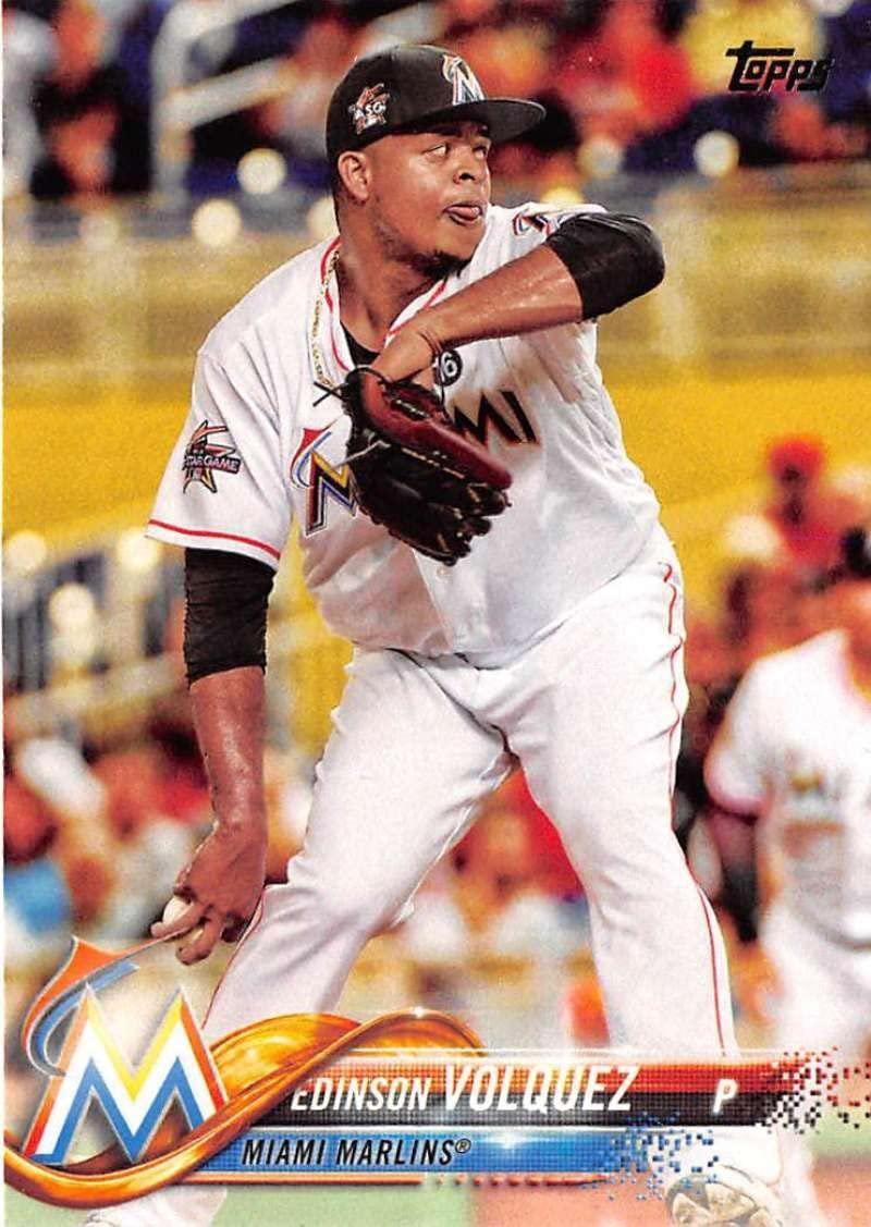 2018 Topps #22 Edinson Volquez Miami Marlins Baseball Card