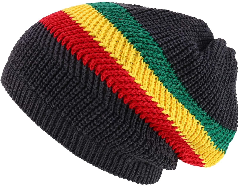Armycrew Long Slouchy Striped Jamaica Rasta Winter Knit Cotton Dreadlock Beanie Hat - Charcoal Rasta