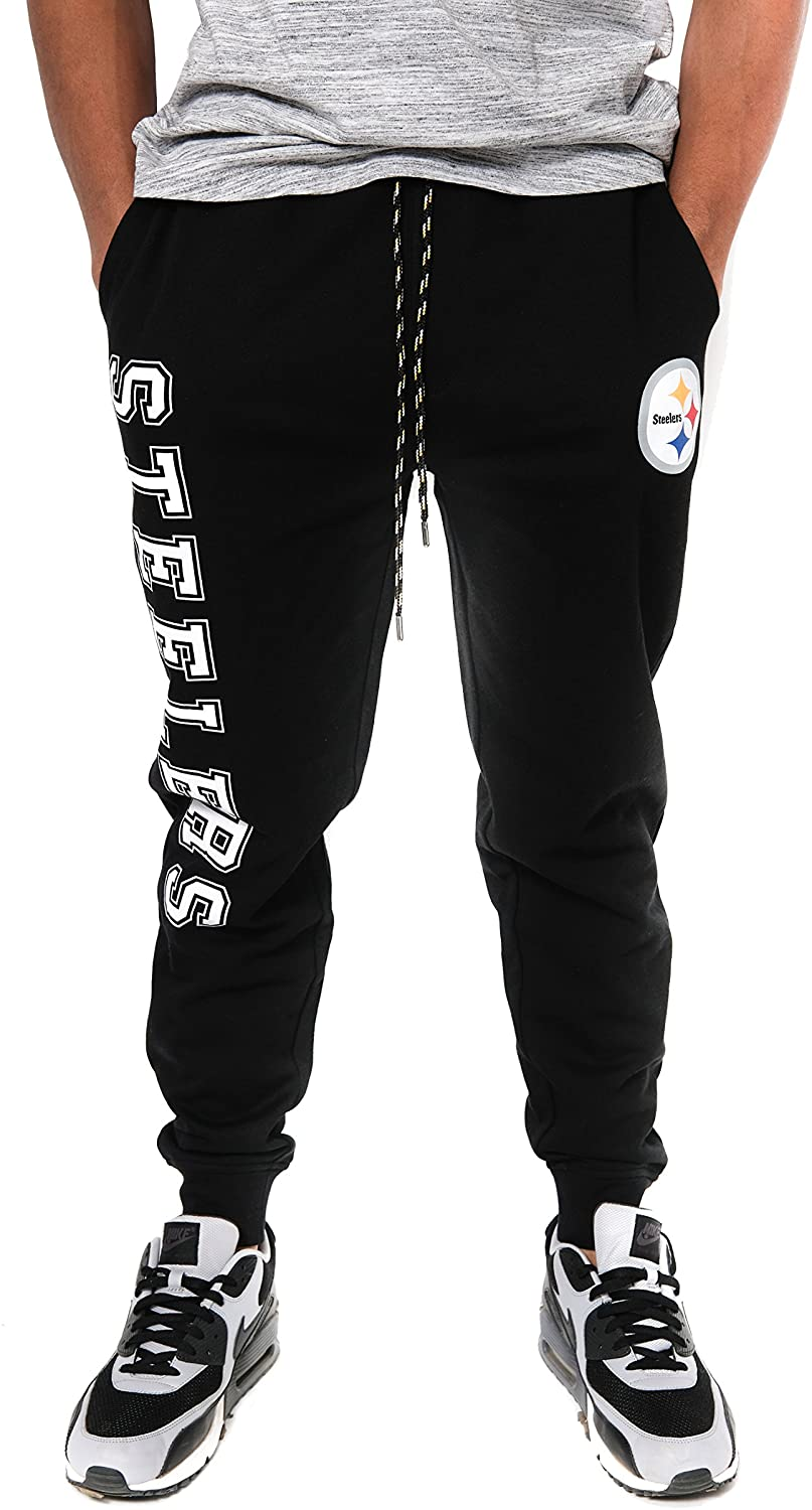 Ultra Game NFL Pittsburgh Steelers Mens Jogger Pants Active Basic Fleece Sweatpants, Team Color, Small