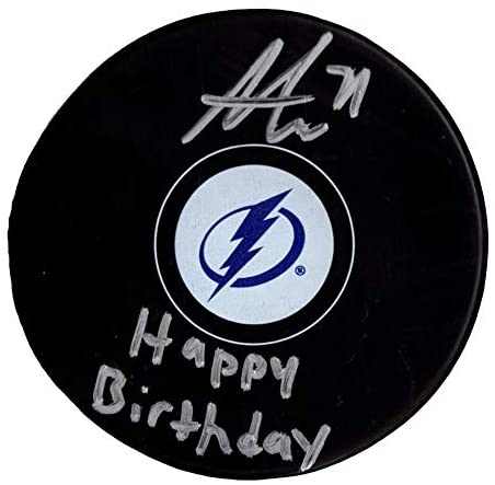 Anthony Cirelli autographed signed inscribed puck NHL Tampa Bay Lightning PSA