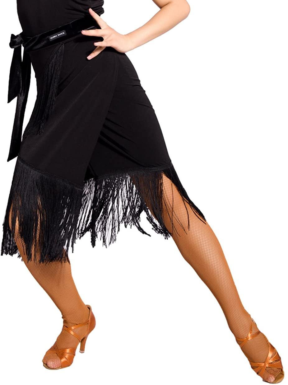 SCGGINTTANZ G2031 Latin Ballroom Dance Professional Tassels Stitching Velvet tie Skirt (Apron Style)
