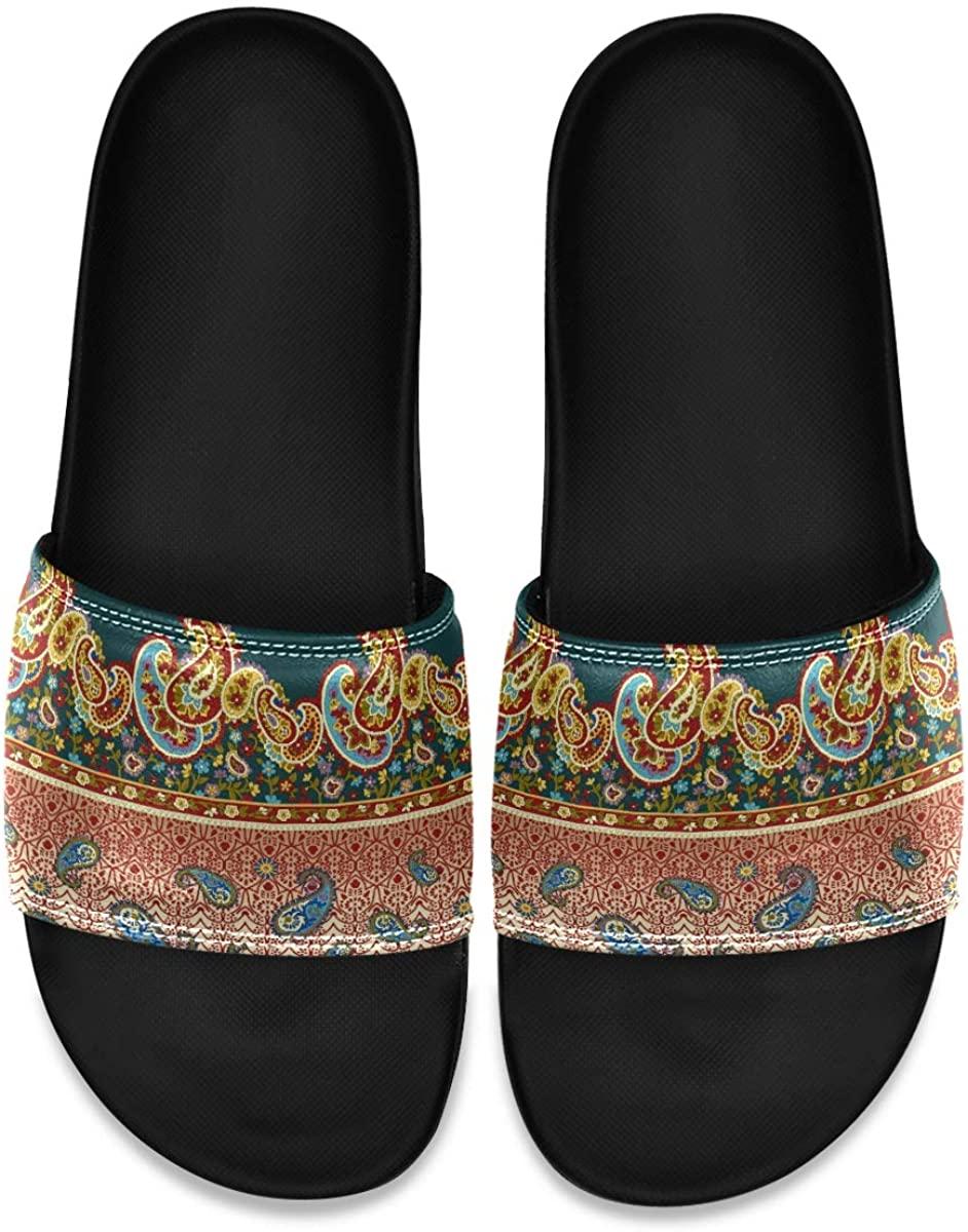 Boho Paisley Golden Mens Leather Slide Sandals Summer House Slippers Outdoor Boys