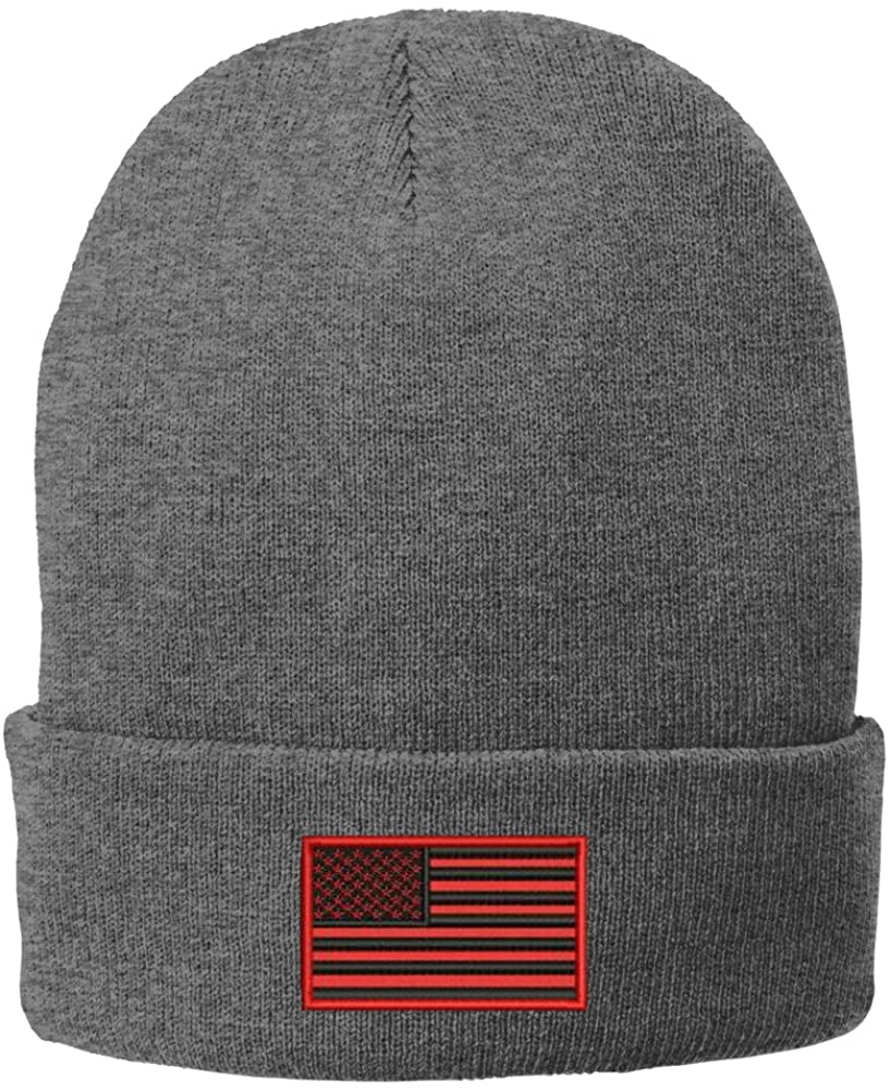 Trendy Apparel Shop US American Flag Red Embroidered Winter Folded Long Beanie