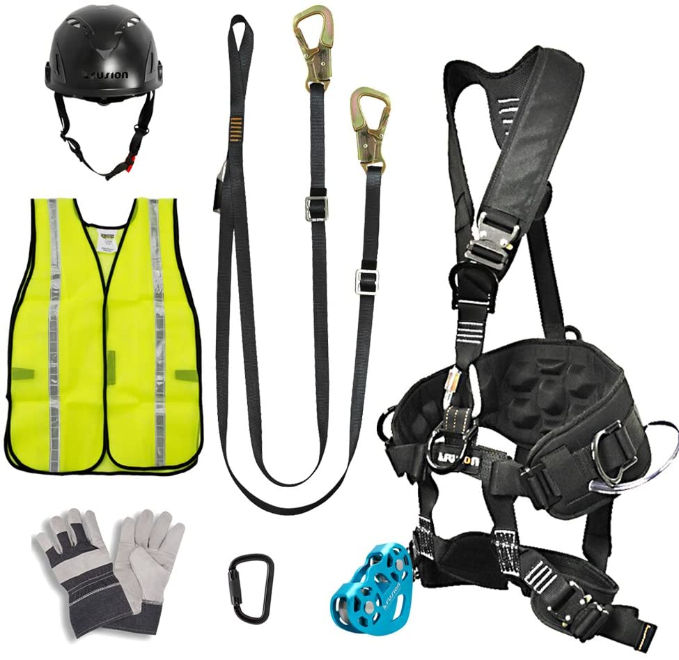 Fusion Climb Pro Backyard Zip Line Kit Harness Lanyard Trolley Carabiner Helmet Vest Glove Bundle FK-A-HLTCHVG-11