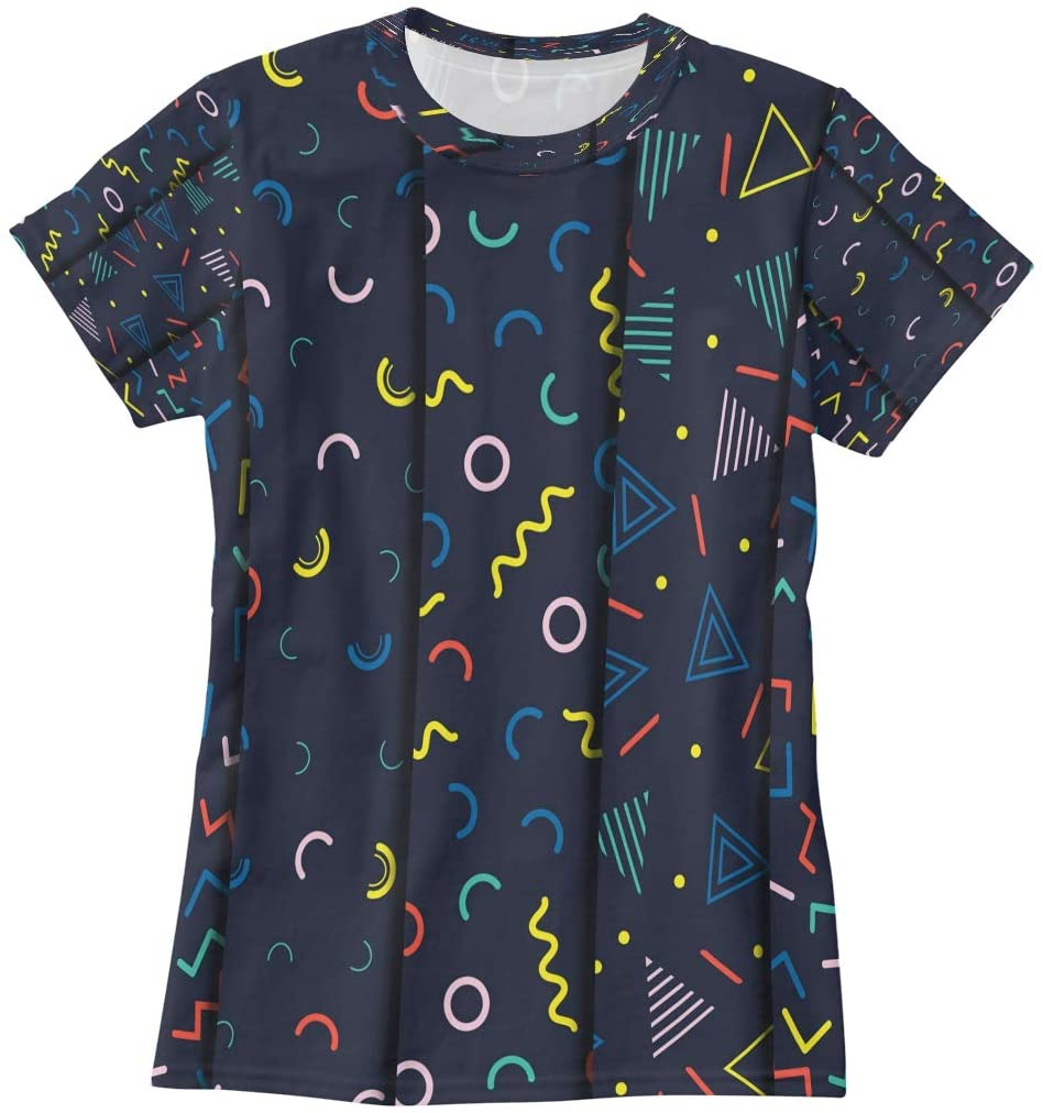 N /A Retro Memphis Geometric Line Shapes Seamless Patterns Set Womens T Shirts Funny Graphic Tees Shirts Summer Short Sleeve Tshirt