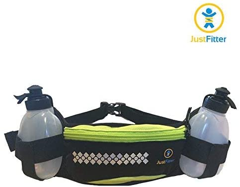 Just Fitter Hydration Belt for Runners. Men and Women Water Bottle Waist Belt for Running with Pocket to Fit iPhone 6 Sizes.