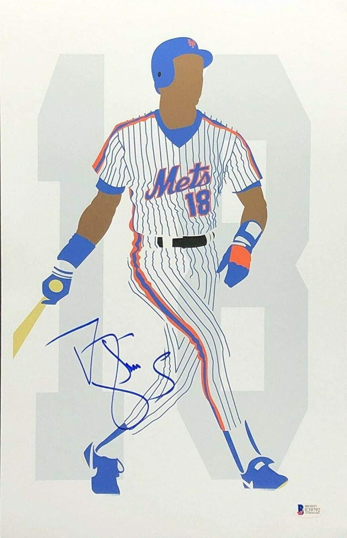 Darryl Strawberry Signed New York Mets 11x17 Art Print BAS Beckett E39792 - Beckett Authentication - Autographed MLB Art