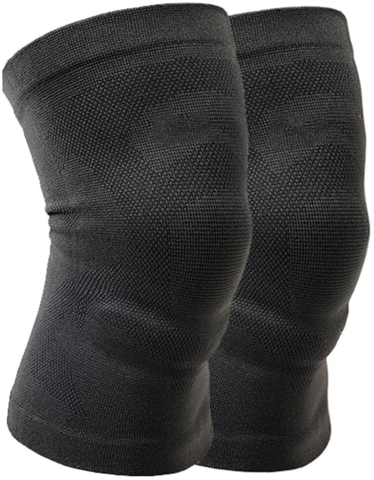 Knee Compression Sleeve 2 Pack Patella Protection Support for Running Sports Knee Pain Relief Knee Brace for Men Women-Black B XL