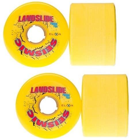 Seismic 75mm Landslide Longboard Skate Wheels ~Set of 4~ (Yellow (Durometer 79a))