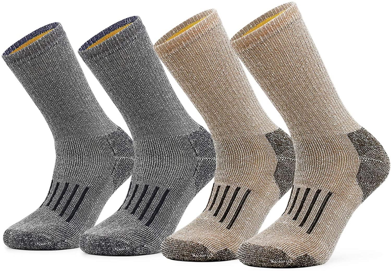 SOX TOWN Men's Merino Wool Moisture Wicking Outdoor Hiking Thermal for Winter Heavy Cushion Crew Socks