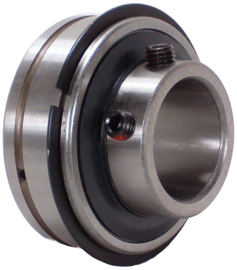 Peer Bearing SER-19 Insert Bearing, SER Series, Wide Inner Ring, Cylindrical Outer Ring, Relubricable, Set Screw Locking Collar, Single Lip Seal, 1-3/16