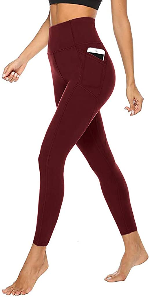 ZEFOTIM Womens Run Yoga Shorts,Tight Elastic Quick Dry Solid Pocket Yoga Pants Fitness Yoga Pants